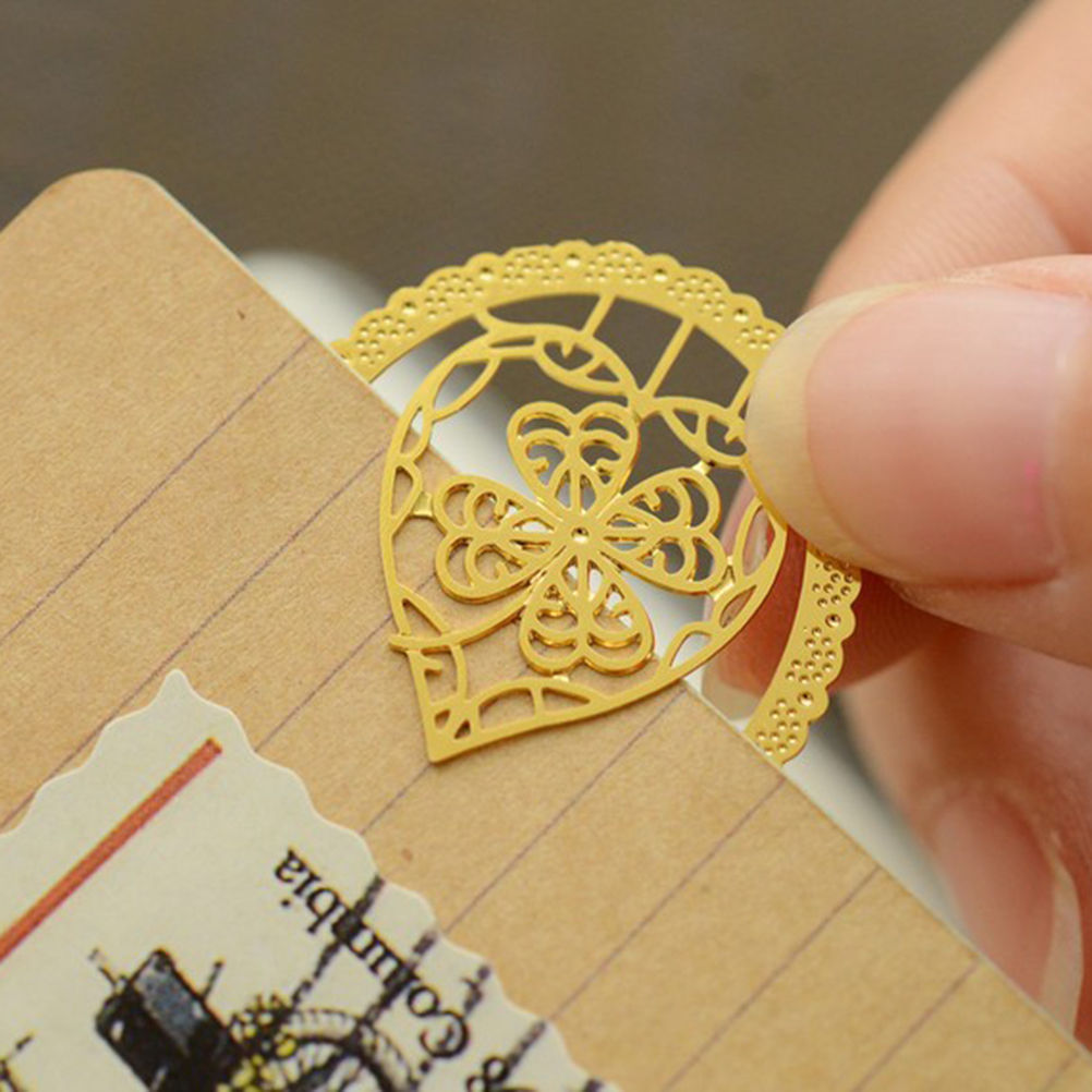 2016 Lace Cutout Gold Metal Cute Students Page Clip Bookmarks For Reading Gift-birdcage