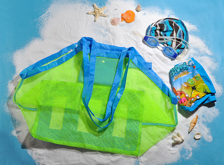 Kids Sand Away Protable Mesh Bag Kids Carry Beach Toy Clothes Towel Bag Baby Toy Storage Sundries Bags Sand Away Beach Mesh Tool