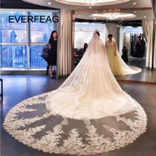 Wedding-Veils Comb Lace Appliqued-Edge Long Two-Layer with Handmade Elegant