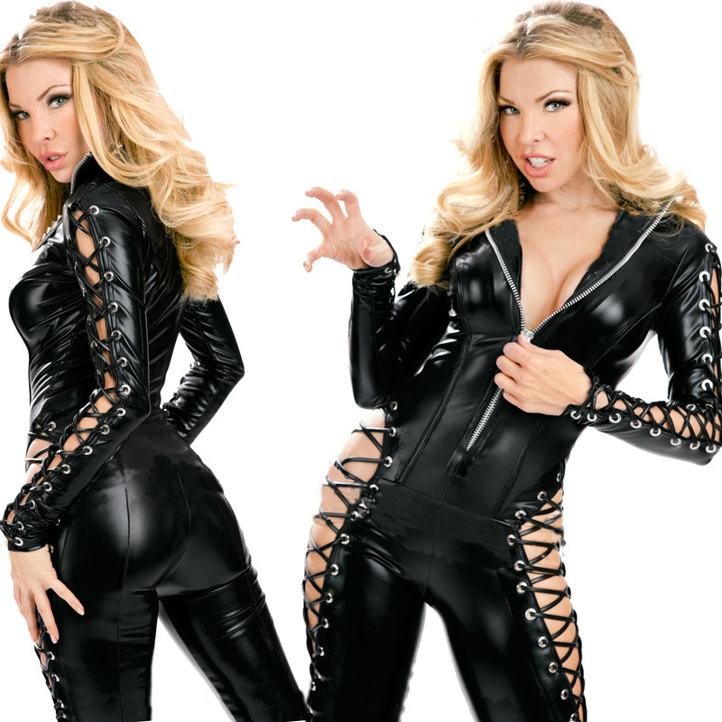 Vocole Sexy Lady Wetlook Faux Leather Clubwear PVC Zipper Bodysuit Lace Up Back Long Sleeves Jumpsuit Clubwear Erotic Pole Dance