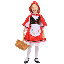 Umorden Kids Child Girls Little Red Riding Hood Costume Village Farm Girl Halloween Carnival Masquerade Mardi Gras Party Dress