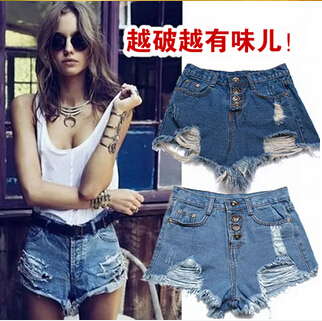 free shipping Candy color restoring ancient ways holes show thin tall waist jean shorts female personality 7 colors S-XL