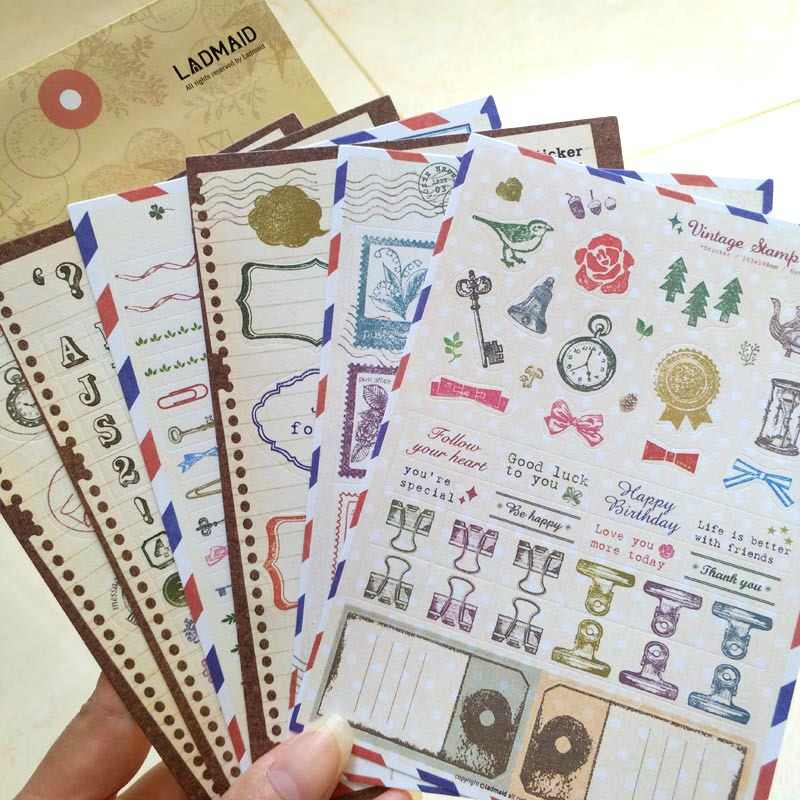 6Pcs Vintage Timbro Sticker Album Tasca Decorato Con Confezione regalo Set di Adesivi Manuale Album Acquerello Fresco Diario Carino