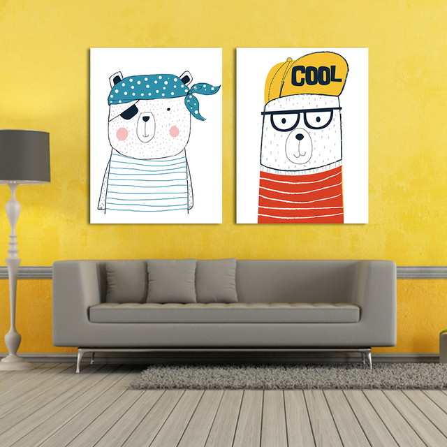 2Pcs Cartoon Canvas Prints Painting Wall Art Decor For Kids Cool ...