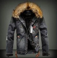 ABOORUN 2017 Mens Denim Jacket With Fur Collar Retro Ripped Fleece Jeans Jacket And Coat For