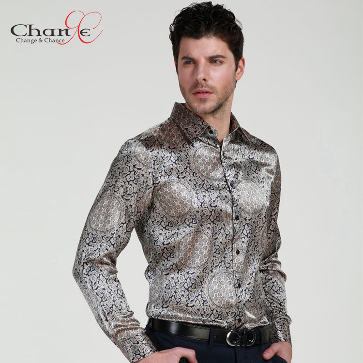 Mens Floral Print Shirt Silk Satin Slim Men Shirt Long Sleeve M ...