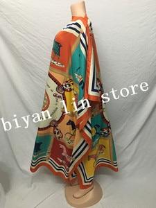 Image 2 - Длина платья: 130 см, обхват груди: 130 см, новинка 2018, модные платья, женская длинная блуза с принтом Дашики, цветной узор Yomadou, большие размеры