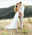2016 High Quality robe de mariage Chiffon Lace Boho Bride Dress Simple Sexy Slit Beach Wedding Dresses