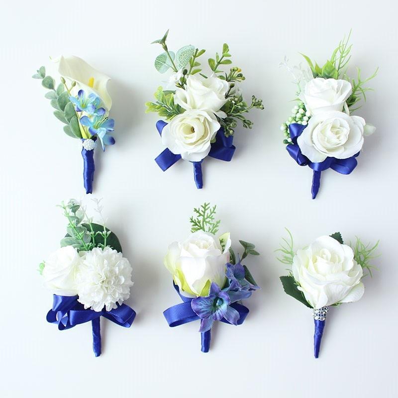 wedding boutonniere white blue groom suit decor (15)