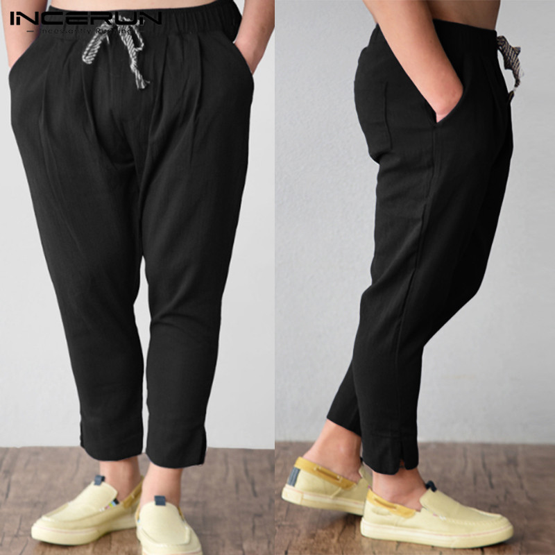 INCERUN Male Nine Pants Elastic Band 2020 Feet Tapered Pants Summer Beach Pants Solid Color Pockets Pine Seaside Retro Trousers