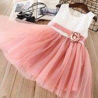 Everweekend dulces niñas arco flor Patchwork Tulle Ruffles vestido princesa rosa y gris Color Western moda verano vestido de fiesta