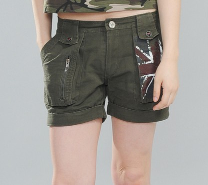 sports military army shorts Flanging low rise hip camouflage shorts outdoor hot Cargo Sh ...