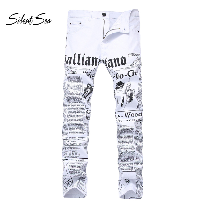 Silentsea Men's   Jeans   Punk Fit 3d Printed Male   Jeans   Skinny Hip Hop Mens White Big Size 28-42 Distressed   Jeans   Pants