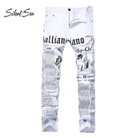 Silentsea Men's Jeans Punk Fit 3d Printed Male Jeans Skinny Hip Hop Mens White Big Size 28 42 Distressed Jeans Pants