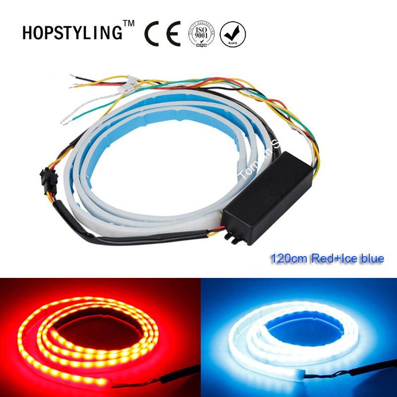 hopstyling 120CM LED Car Truck tailgate Running brake reverse turn signal rear strip light Red+Ice blue flashing warning lights