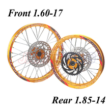 Передний 1,60-17 задний 1,85-14 дюймов сплав обод колеса с ЧПУ Концентратор тормозной диск для KAYO HR-160cc TY150CC грязи питбайк 14/17 дюймов колеса