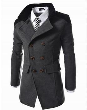 Autumn And Winter Stand collar Slim Double-sided Keep warm coat Men In the long section Double breasted coats   C02YF801