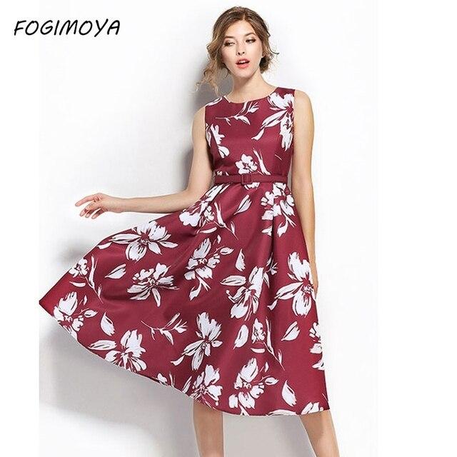 Fogimoya платье женские летние Мода 2017 без рукавов с принтом Платье без рукавов Женская с круглым вырезом до середины икры пояса линии талии платье с принтом