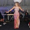 SML Nueva Rihanna Vestidos de las Celebridades Blanco Sexy de Dos Piezas de La Sirena Cuello Alto Cristales Espalda Abierta de Noche de Alfombra Roja vestidos