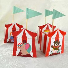 5PCs/Set Cartoon Circus Bear Lion Elephant Candy Paper Boxes DIY Wedding Kids Birthday Party Baby Shower Decor Favors(China)