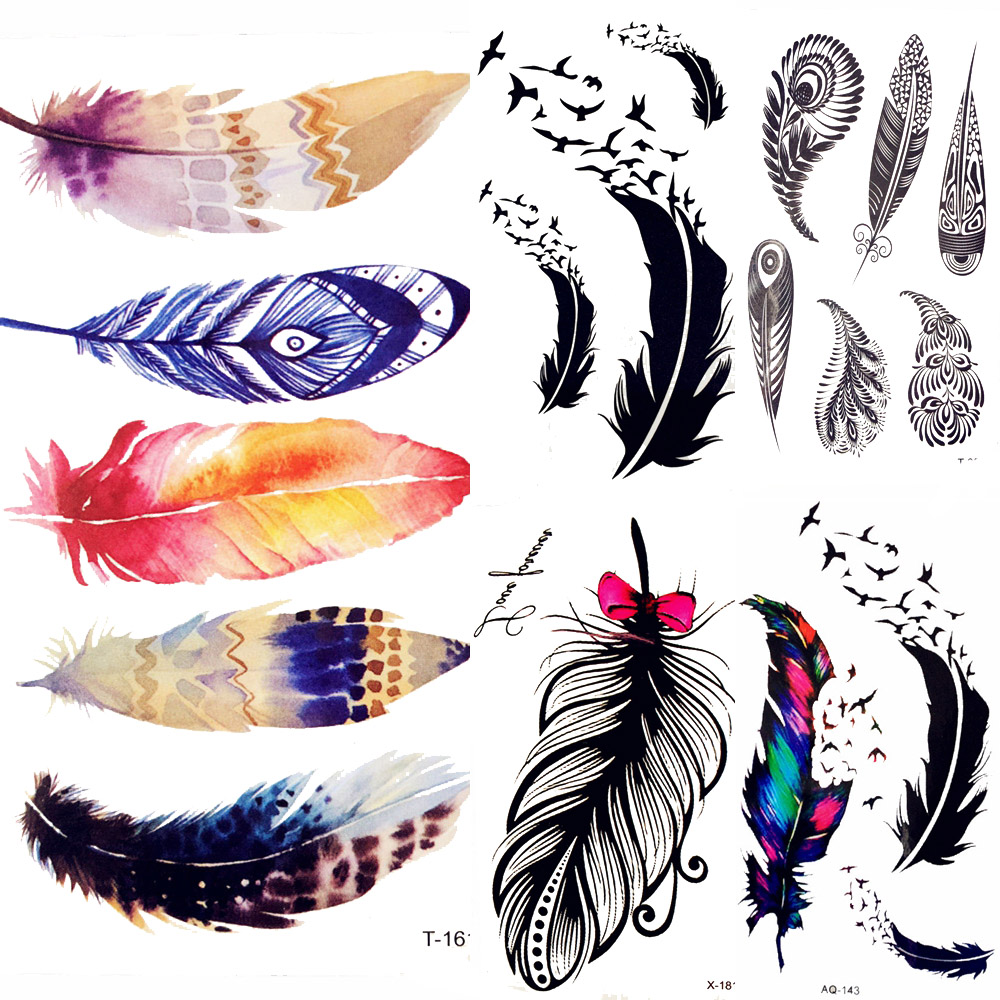 Summer Style Watercolor Feather Bird Temporary Tattoo Women Tribal Henna Fake Tattoo Men Body Arm Art Drawing 3D Tatto Stickers