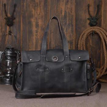 Vintage Men Genuine Leather Travel Bag Large Capacity Weekend Duffel Bag Travel Tote Handbag New Design Big Shoulder Bag DH10