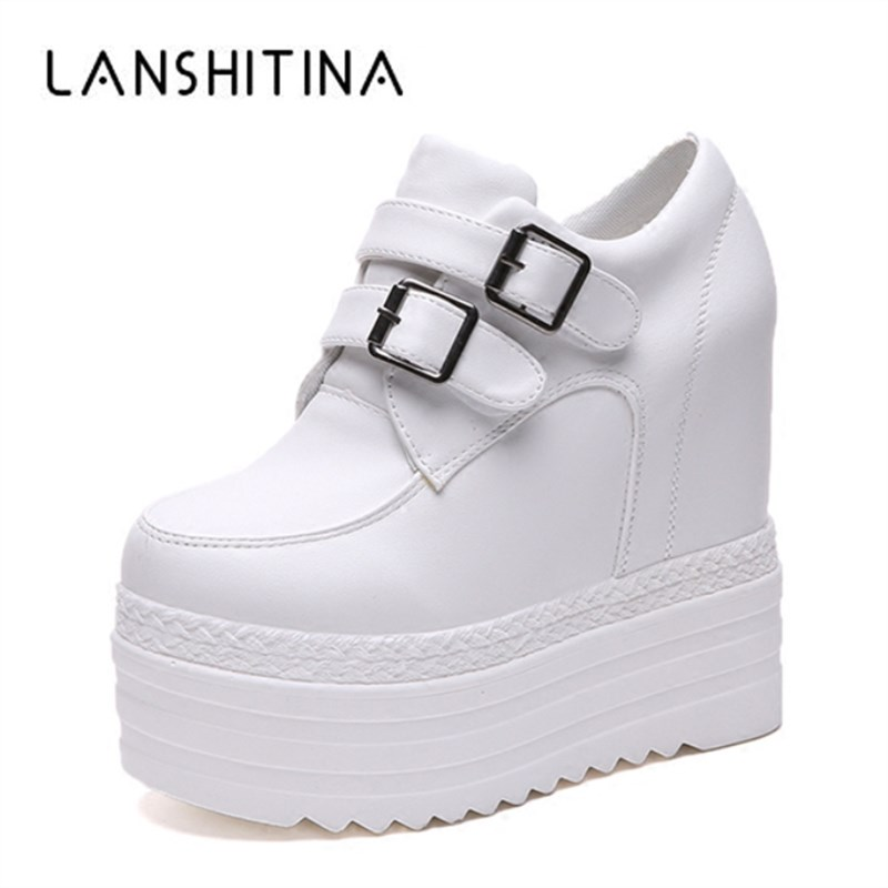 2018 Autumn Woman Height Increasing High Heels Platform Shoes Women Breathable Sneakers High Top White Casual Shoes 13CM Heels