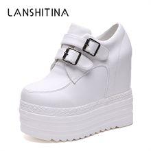 85f38956b 2018 Осенняя женская обувь, увеличивающая рост, на высоком каблуке, обувь  на платформе, женские дышащие кроссовки, высокие белые.