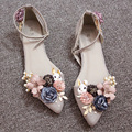 Women Single Shoes 2017 New Spring Summer Rabbit Flowers Pearl Flats Hollow Flat Shoes Buckle Pointed Toe Sandals Shoes