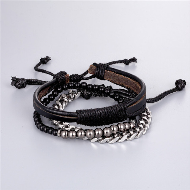1 Set 3PCS Multi-layer Leather Beaded Charm Bracelet Women Stainless Steel Link Chain Mens Couple Bracelets Dropshipping homme