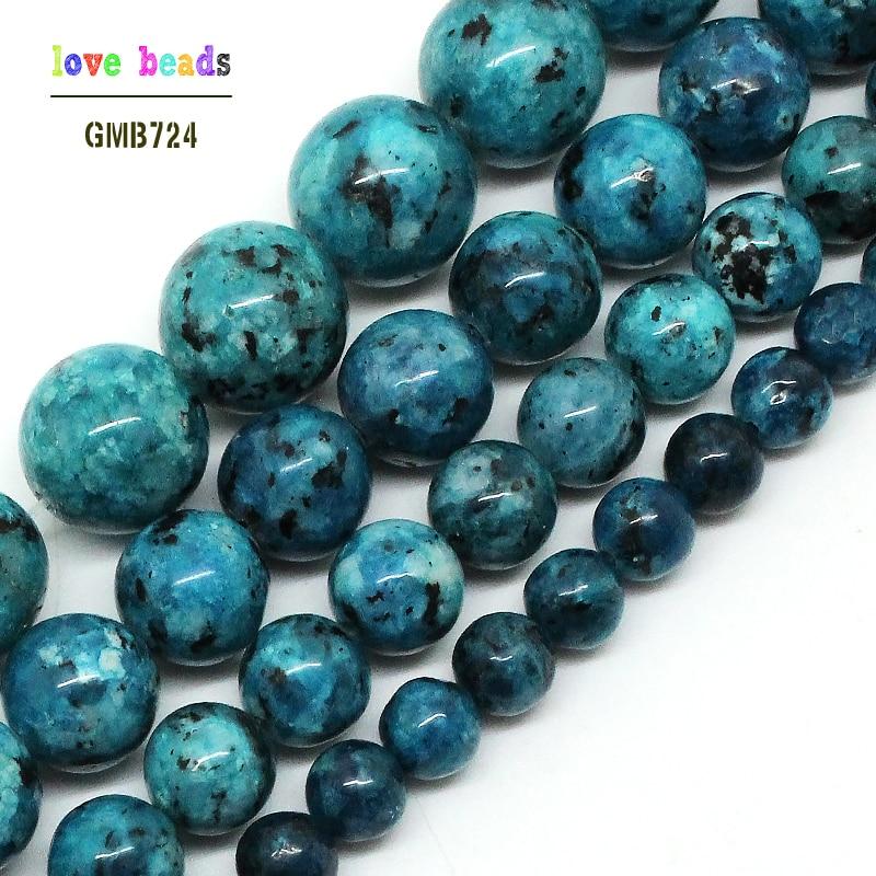 Natural Blue Spot  Stone  6/8/10/12mm Round Loose Beads 15.5inch/strand Pick Size DIY Bracelet (F00520)