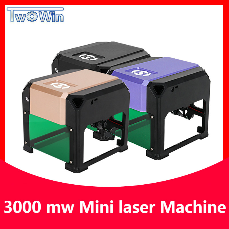 3000mw CNC Laser Engraver DIY Logo Mark Printer Cutter Laser Engraving Machine Woodworking 80x80mm Engraving Range 3W Mini Laser