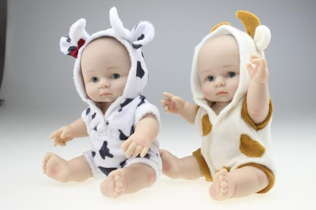 25cm Mini Toy Simulation Doll Baby Silicone Doll Model Beautiful Baby  Shower Doll Kids Christmas Birthday