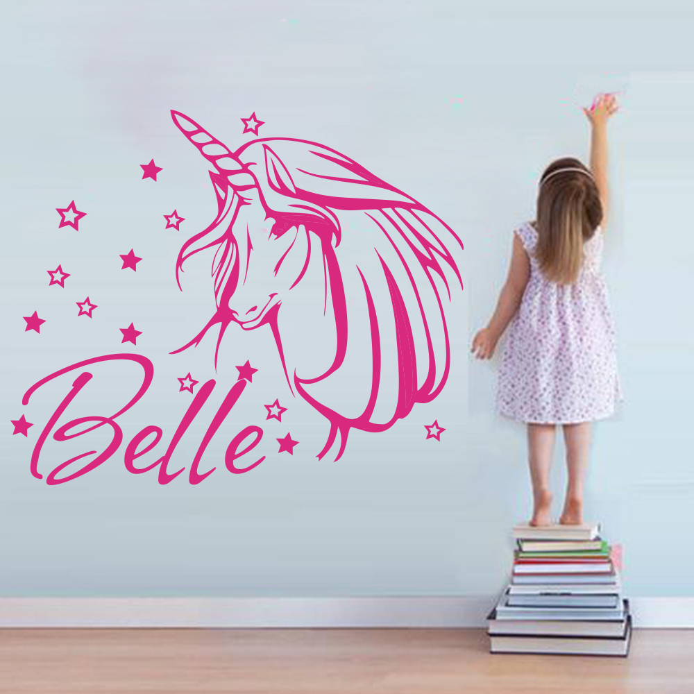 Custom Unicorn Star Name Wall Sticker Girl Room Bedroom Cartoon Animal  Horse Star Name Wall Decal Living Room Baby Nursery Vinyl - TARIFIKLAN COM