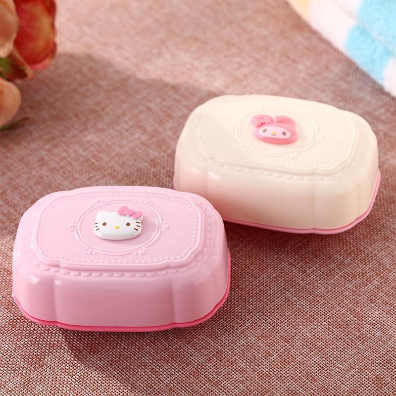 1PCS/SET Cartoon Bathroom Soap Dishes Storage Holder Soapbox Plate Tray Drain Hello Kitty Bathroom Accessories DA