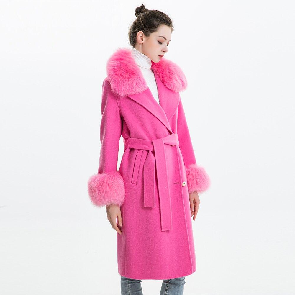 Delle donne Cappotto di Cachemire con Vera Pelliccia di Volpe Colletto della Giacca Di Lana con Cintura Autunno Inverno Slim Della Signora 2018 Donne Lungo Cappotto cappotto di lana
