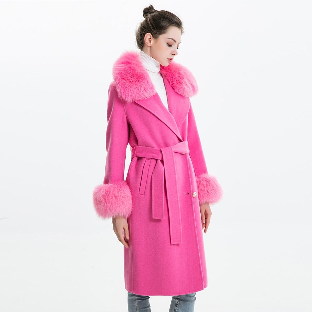 Las mujeres abrigo de cachemir con cuello de piel de zorro chaqueta de lana con cinturón invierno otoño Slim dama 2018 largo abrigo de las mujeres abrigo de lana