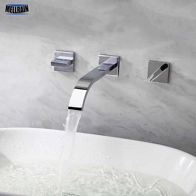 Robinet de salle de bains cascade mural double poignées en laiton matériel chromé robinet mitigeur de bassin de haute qualité dans le robinet mural