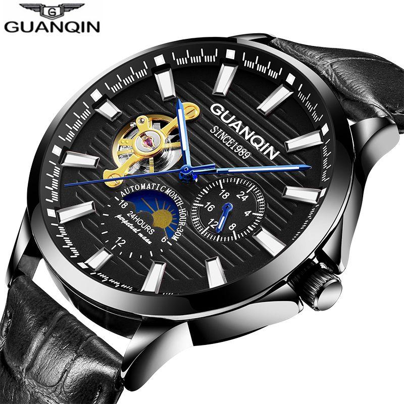 GUANQIN men watch Luminous clock men Automatic waterproof Mechanical leather dropshpping skeleton luxury erkek kol saati 2018 Наручные часы