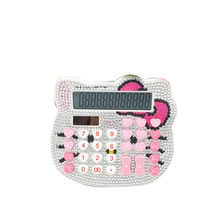 Hot Sale Middle Size 12 Digit Solar Pink Cute Luxury Rhinestone Crystal Diamond Hello Kitty Calculator Wholesale