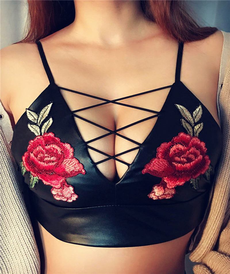 Vogue Female Black PU Leather Crop Tops Charming Plunge Neck Criss Cross Strap Camis Tops Sexy Flower Embroidery Bustier Bra