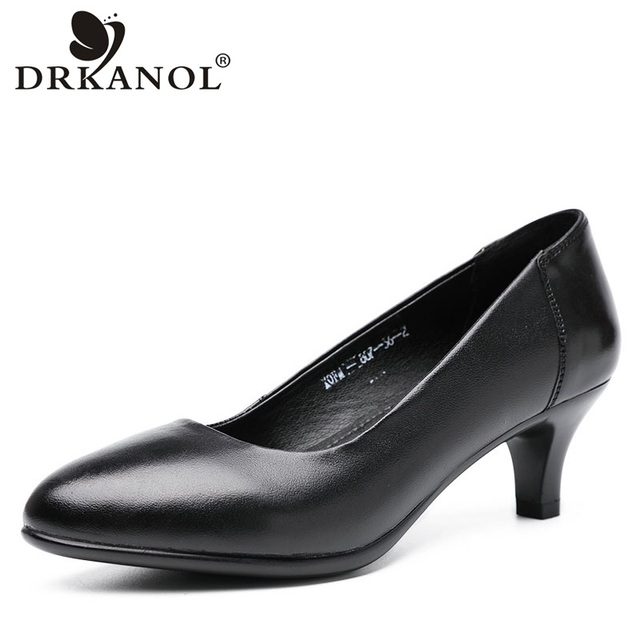 DRKANOL Classic Black Women Pumps 2020 Pointed Toe High Heel Shoes Women Genuine Leather Slip On Office Shoes Sapato Feminino