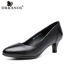 Drkanol古典的な黒女性パンプス 2020 ポインテッドトゥハイヒールの靴女性本革スリップオフィス靴sapato feminino