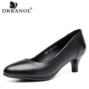 Image 1 - Drkanol古典的な黒女性パンプス 2020 ポインテッドトゥハイヒールの靴女性本革スリップオフィス靴sapato feminino