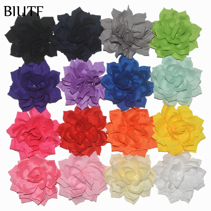 100pcs lot High Quality 3 2 Fabric Flowers FLAT BACK DIY Accessories for Headband Hat Garmnent