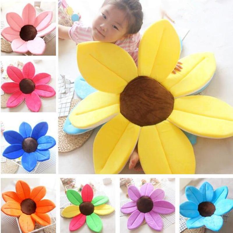 Soft Infant Baby Bath Cushion Mat Sunflower Baby Plush Toys For Kids Photography Plush Pillow Baby Flower Shape Seat Mat