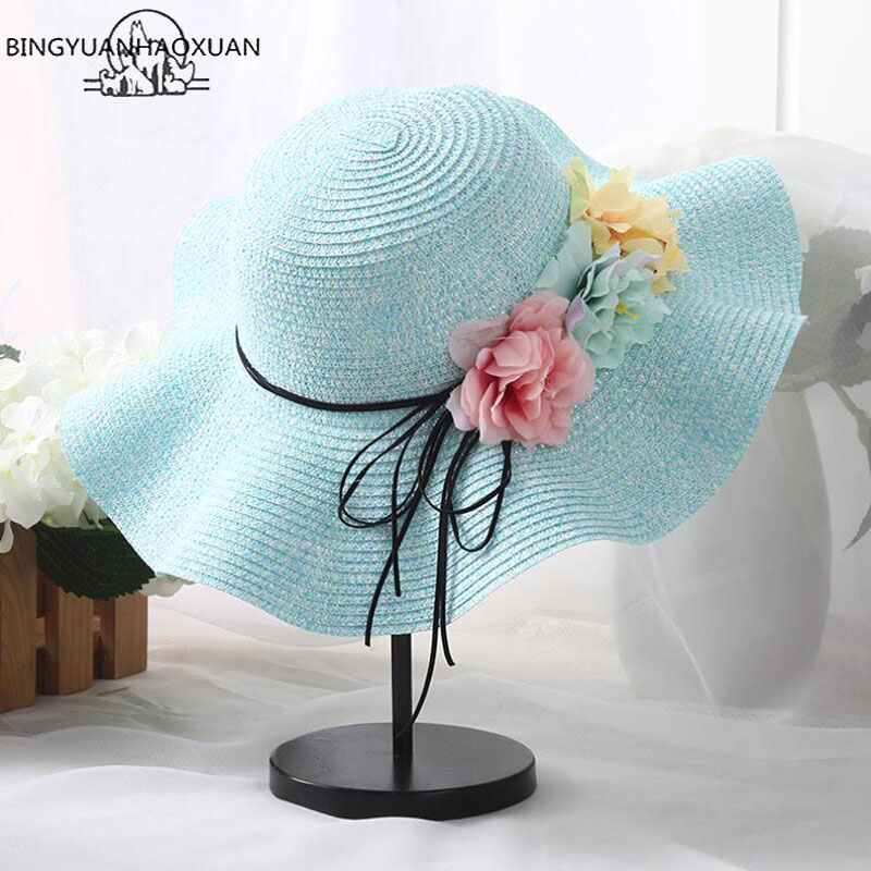 BINGYUANHAOXUAN 2018 New Summer Girls Straw Hats for Kids Baby Sun Hat with Flowers Summer Hat Adult Straw Hats