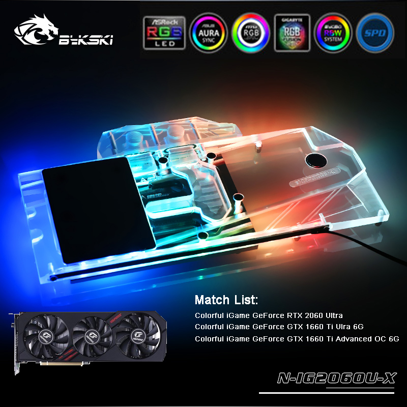 Bykski N-IG2060U-X Full Cover GPU Water Block For Colorful IGame RTX 2060 Ultra Graphics Card Cooler Water Cooling