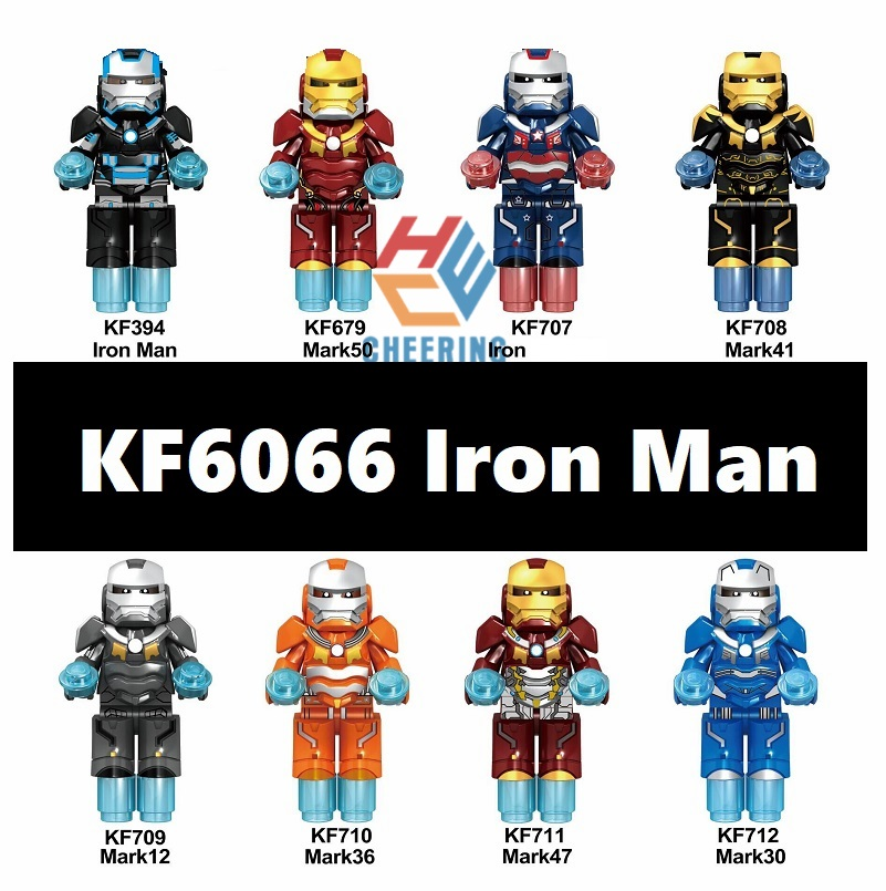 20Pcs Wholesales Movie4 Character Iron Man Mark Rescuer With Shield Weapon Building Blocks For Children Toys Kids Gift <font><b>KF6066</b></font> image