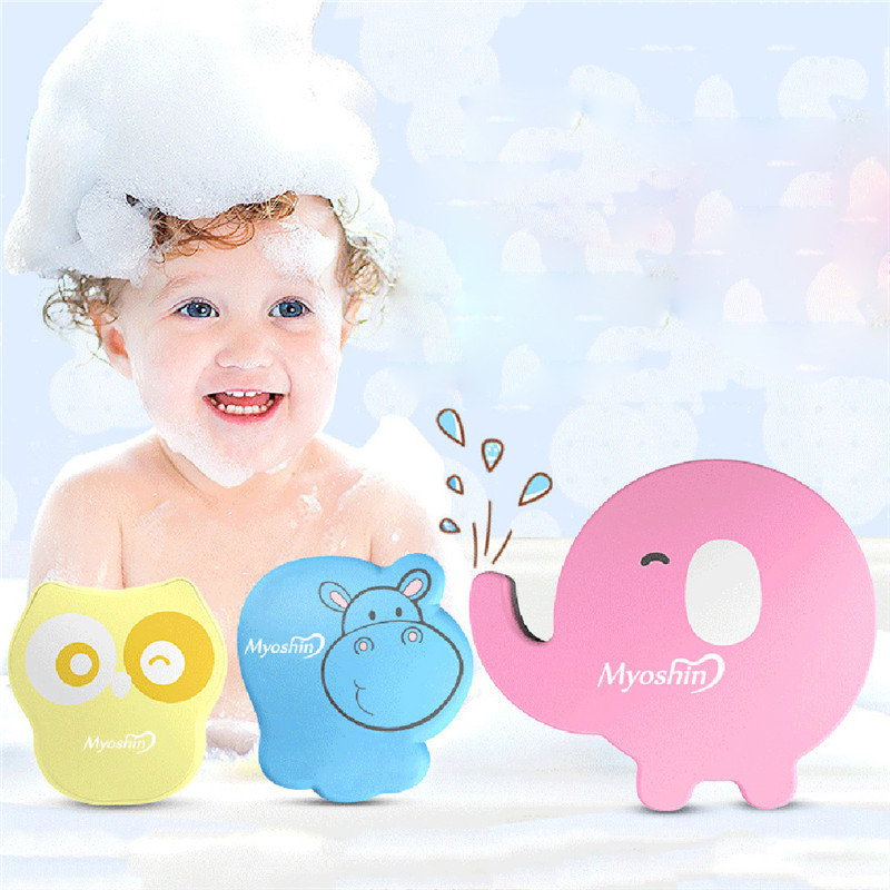 Cute Baby Bath Sponge Cartoon anmimal shaped Soft Cotton Brush Rubbing Towel Ball (Random Delivery)